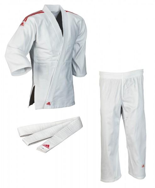 """adidas Judo-Anzug """"Club"""" weiß/rote Streifen, J350"""
