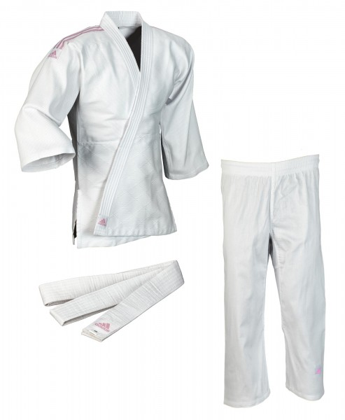 """adidas Judo-Anzug """"Club"""" weiß/pinke Streifen, J350"""