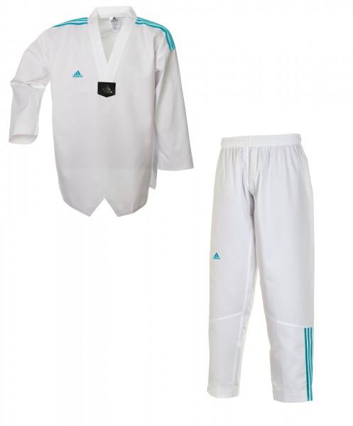 adidas Taekwondoanzug, Adi Club 3 stripes, weißes Revers, blaue Streifen