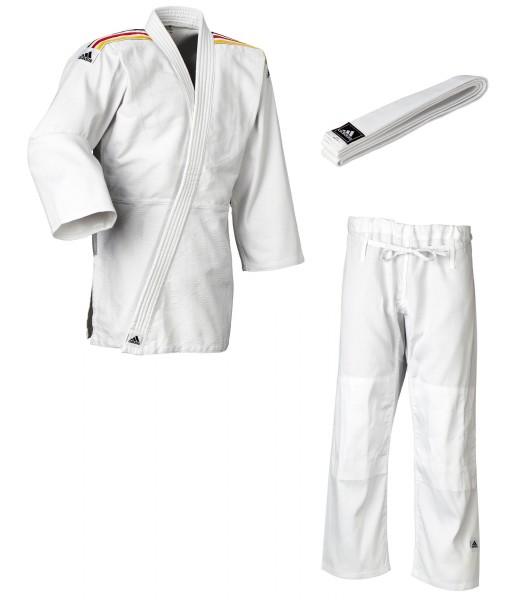 """adidas Judo-Anzug """"Club"""" weiß/schwarz-rot-goldene Streifen, J350"""