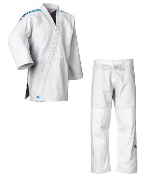 "adidas Judo-Anzug ""Contest"" weiß/blaue Streifen, J650"