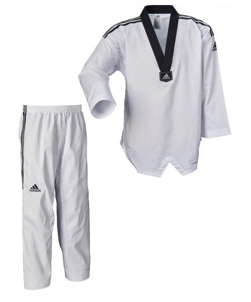 adidas Taekwondoanzug, adi Fighter Eco mit Streifen, schwarzes Revers